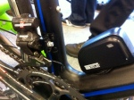 The front derailleur and battery pack of Campagnolo's new electronic system, EPS.