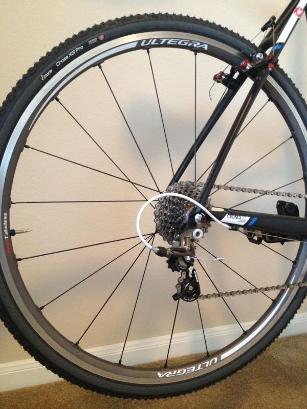 Shimano's Ultegra tubeless wheelset have a slightly more refined appearance.