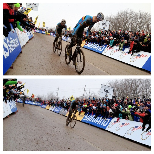 Top: Vantornout leads Nys with 1 to go. Bottom: Nys, your new World Champion.