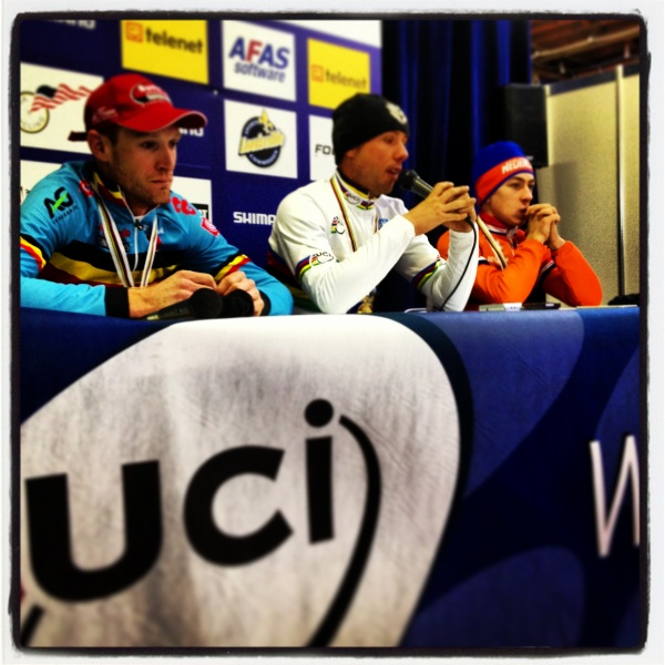 The men's podium at the post-race press conference. (L to R: Vantornout, Nys, van der Haar.