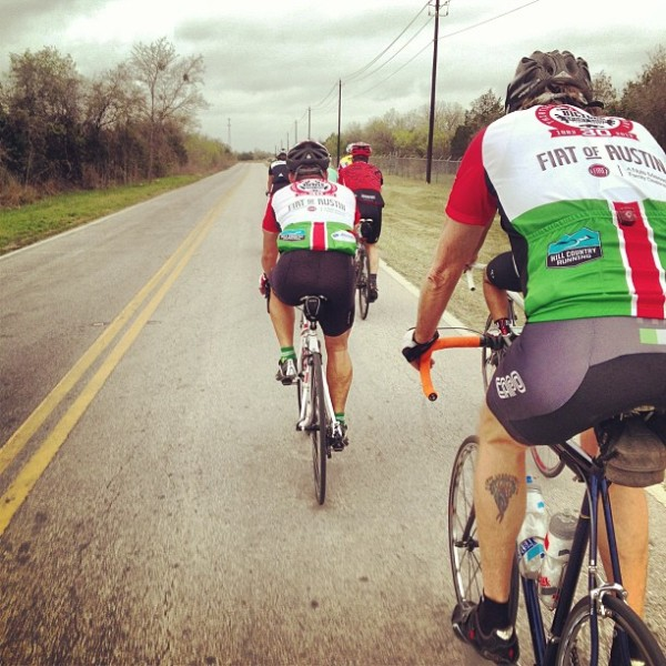 The Sunday Lamar store ride, two abreast--aside from the photographer.
