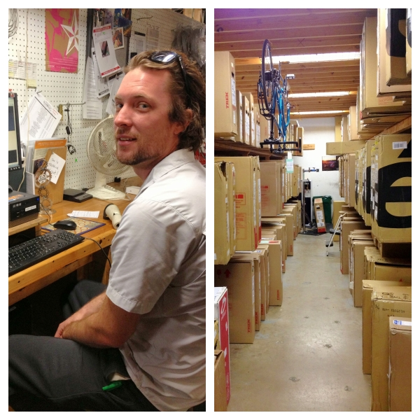 Brandon checks the day's work load before pulling bikes from the boxed bike room for his staff.