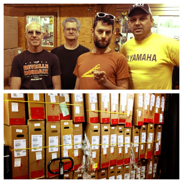 The warehouse staff receives and tags the boxes and boxes of bikes that come in daily. See that green tag? That's someone's special order!