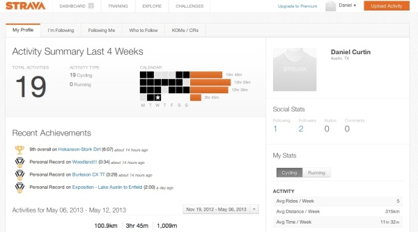 "A look at my Strava dashboard with recent ""personal achievements."""