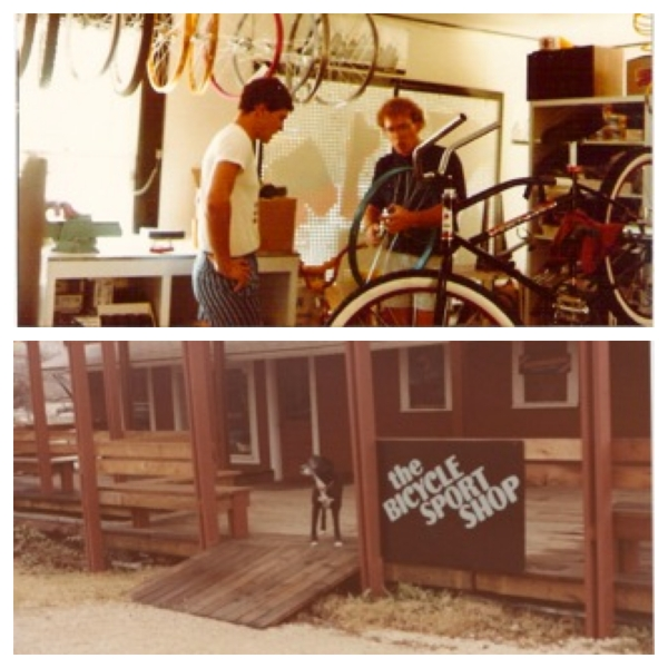 Above: Hill talks equipment with Bicycle Sport Shop's founder. Below, the original location on Barton Springs Road.