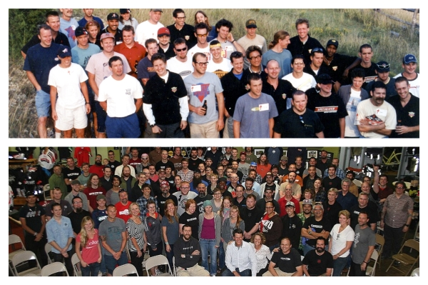 The Bicycle Sport Shop staff, then and now. Photos courtesy of Laura Agnew.