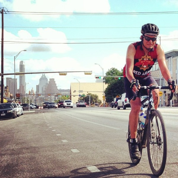 Ray spins up South Congress on his Crux.