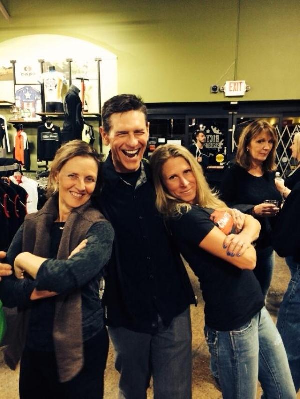 Triathlon captain Claudia hams it up with Laura and Hill last night.