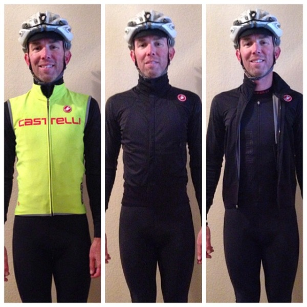 Post ride. Vest, jersey, and base layer. Perfect in the 40 degree drizzle and wind.