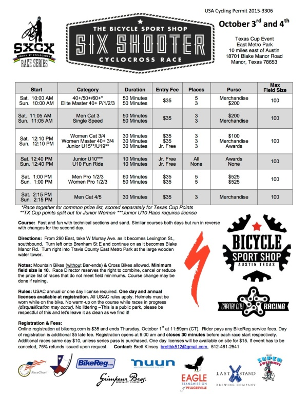 Don't miss the Bicycle Sport Shop Six Shooter the first weekend in October.