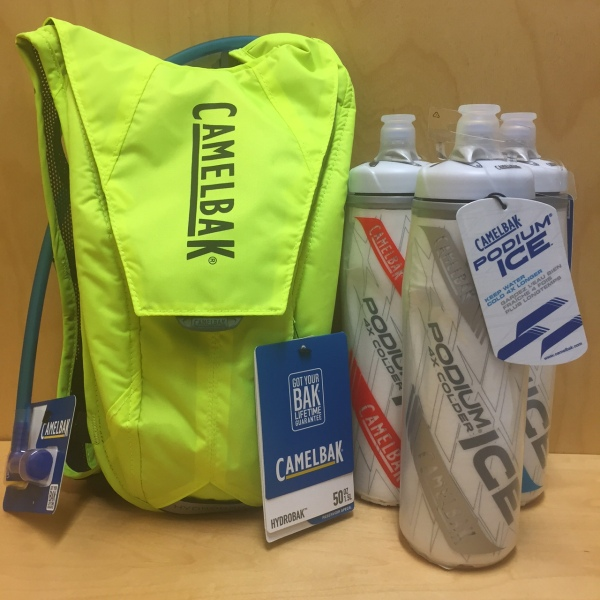 Camelbak packs like the Hydrobak and insulated bottles like the Podium Ice keep your favorite drink cool and within reach.